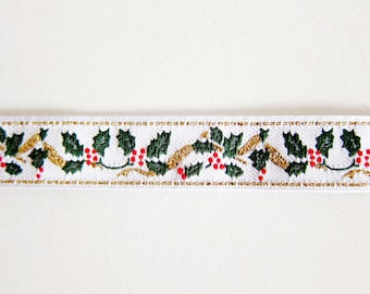 Christmas Plants Sewing Trim - Christmas Jacquard Ribbon - For Sewing / Embellishing / Packaging