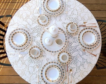 MCM Vintage Dinnerware for 4 or 8: Plaid 'Highlander' Pattern 3909, Harmony House Japanese Porcelain