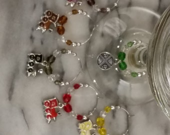 Train Conductor Railroad Lover Wine Charms W/Pouch
