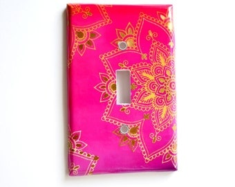 Mandala Switchplate Cover - Pink Gold switchplate  - Pink Ombre - Shiny Gold - Bohemian Bedroom Decor