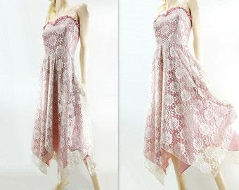 Vintage Lace Dress, Rose Pink Dress, White Lace Dress, Tea Length Lace, Lace Party Dress, Handkerchief Hem, Stevie Nicks Dress, m