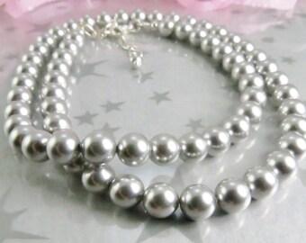 Gray Swarovski Pearl Necklace - Single Strand Pearls - Grey Pearl Necklace - 6mm Swarovski Pearl Necklace -Wedding Jewelry - Bridesmaid Gift