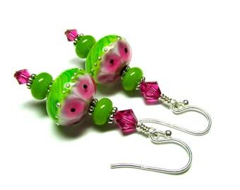 Pink Green Glass Earrings, Pink Earrings, Lampwork Earrings, Handmade Earrings, Elegant Earrings, Sterling Silver Earrings, Elegant Earrings