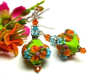 Lime Green Orange Turquoise Flower Earrings Glass Earrings Lampwork Earrings Handmade Lampwork Earrings, Floral Earrings, Handmade Earrings,