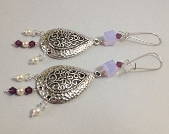 Silver Filigree Teardrops Earrings with Lilac/Plum Swarovski Crystals (E-527)