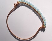 Blue Line, handmade, Copper wire and light blue ab, Czech crystal, bangle bracelet