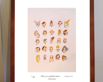 This is a Gentle Town (Adelaide)- quirky A4 print of watercolour portraits