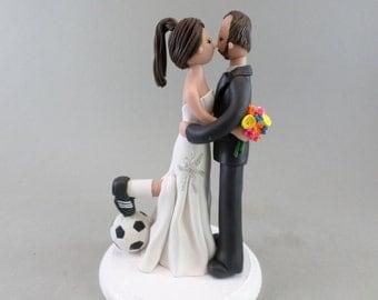 Bride & Groom Soccer Fans Custom Wedding Cake Topper