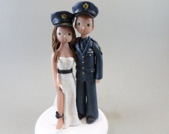 Cake Topper Personalized Bride & Groom Police Officers Wedding