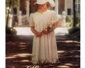 Girls Dress Sewing Pattern - McCalls 8184 - Girls Empire Waist Dress Pattern - Uncut, FF