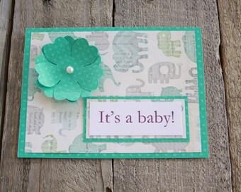 Handmade Baby Shower Card, Its A Boy,  Congratulations Card, Baby Shower Gft Card, It's A Boy