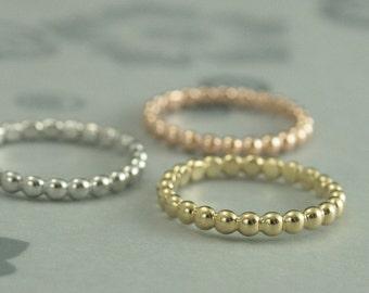 Gold Beaded Band--Gold Wedding Ring--Women's 14K Gold Wedding Band--Solid Gold Stacking Ring--Bubble Ring--Unique Wedding Band