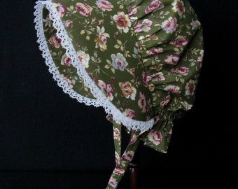 Woman or older girl's pioneer sunbonnet with crocheted lace trim - ready to ship