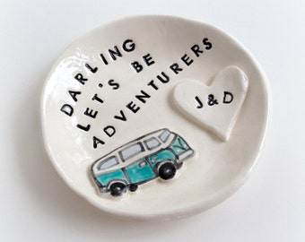 Custom engagement gift ring holder personalized vw ceramic ring dish handmade by Cathie Carlson