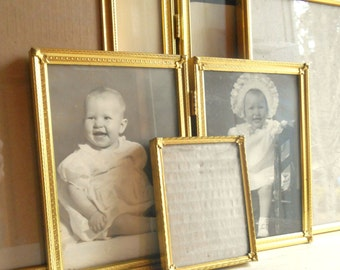 Large Set of Vintage Filigree Metal Picture Frames 8x10 5x7 Bright Yellow Gold Convex Glass