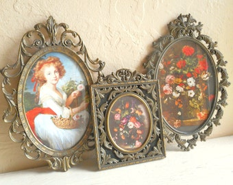 Set of Vintage Ornate Italian Florentine Framed Floral Pictures Convex Bubble Glass Flowers