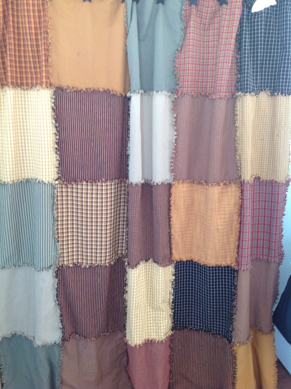 Multi Color Raggy Shower Curtain