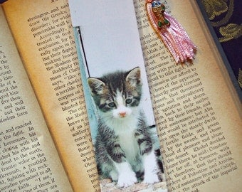 Laminated Lonesome Kitty Photo Bookmark w/ Cloisonne Fish Bead