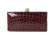 Burgundy Croc Embossed Leather Clutch - Wine Leather Clutch - Burgundy Wedding Clutch - WIne Box Clutch - Leather Minaudière - FREE GIFT BOX