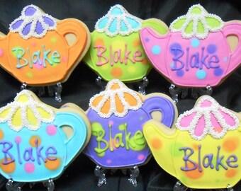 Tea Pot Cookies - Personalized Teapot Cookies - 12 Cookies