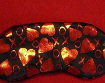 Shiny Red Hearts Sleep Mask