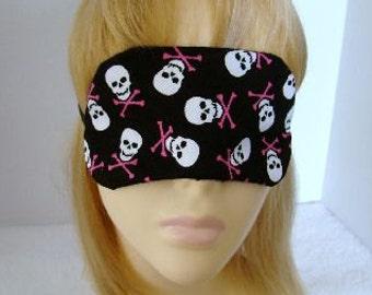 Skulls with Pink Cross Bones Embroidered Sleep Mask