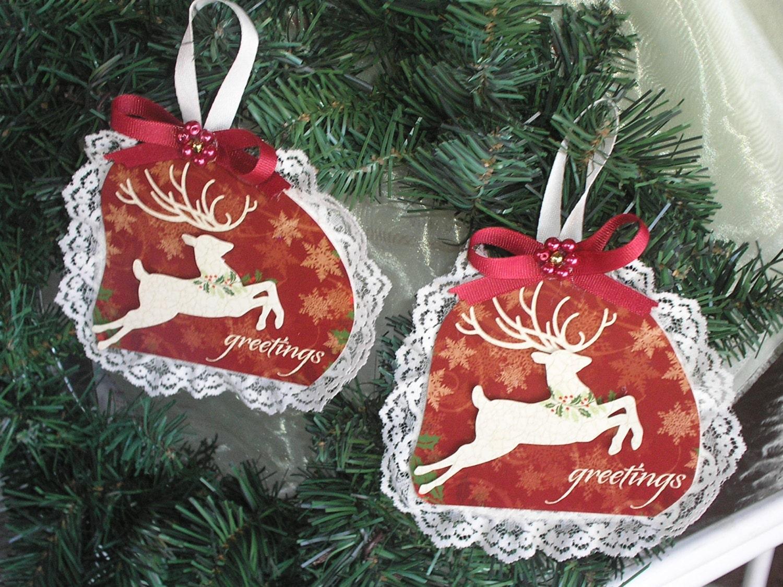 Christmas Card Ornaments Victorian Raindeer Romantic Gift Holiday