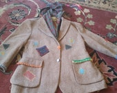 Vintage SCARECROW  hooded patchwork handprinted Unisex JACKET TWEED Halloween Blazer