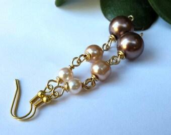 Pearly earrings, pearl chain earrings, pearl earrings, gold jewelry, long earrings