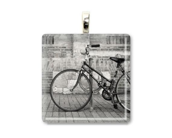 "Bicycle Jewelry ""Soon We Ride"" Photo Jewelry,Photo Pendant,Photo Necklace,Bicycle Necklace,Bicycle Pendant,Bike Jewelry,Bike Art,Glass Tile"