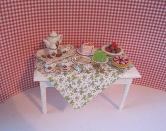 Dollhouse  table, filled table, strawberry table, strawberry tea,  Twelfh scale dollhouse miniature