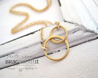 Double Circle Charm Necklace .  Infinity Style Necklace . Gold Layering Necklace . Brag About It