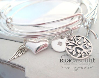 Expandable Silver Bracelet . Personalized Charm Bracelet . Adjustable Bracelet . Hand Stamped Jewelry . Brag About It . Charmed