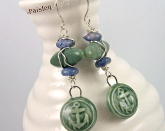 Sea Green Nautical Earrings |porcelain anchor charms and mixed gemstone bead dangles on sterling silver wires