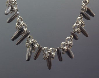 Natural Shell and Aluminum Spikey Necklace- Handmade by Elizabeth Arnold