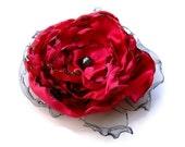 Wedding hair flower, Red Flower Accessory, Valentine's Wedding, Made To Order, Christmas Wedding, Dance Recital, Prom, Maternity Sash