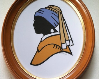 Girl With a Pearl Earring Silhouette Original Papercutting. Color. Framed.
