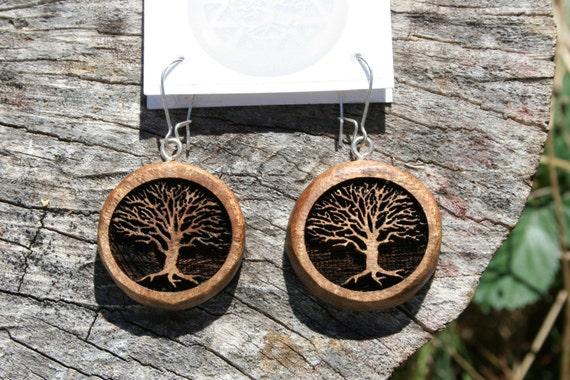 Wood Tree of Life Earrings- in Oregon Myrtlewood (MOD 18)- Wooden Jewelry, Boho Jewelry
