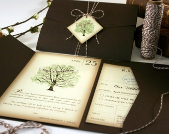 LIterary Wedding Invitation, Pocketfold Tag & Twine Wedding Invitation, Book Lover