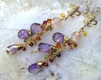 Mystic Pink Amethyst Earrings Peridot Gold Dangle Earrings Wire Wrapped Gold Fill, Multicolor Gemstone, February Birthstone Gold Post Earing