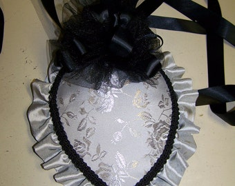 Civil War Hat and Reticule,Victorian Ladies,Gray teardrop with gray floral pattern with gray taffeta ruffle and black trim costume
