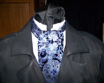 """Ascot and pocket puff Royal Blue with silver Leaf print with Medallion Brocade fabric 4"""" x 43"""" Mens cravat tie"""