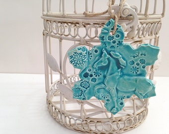 Teal Ceramic Horse Ornament Handmade Pottery