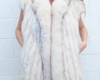 Vintage white blue fox fur oversized winter cozy vest size lrg or xl