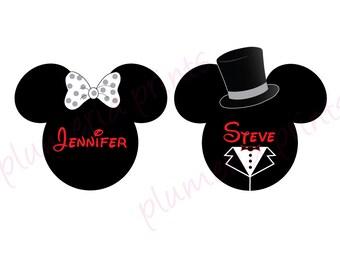 Wedding Mouse Head Bride Groom Disney Cruise Cabin Door Magnets