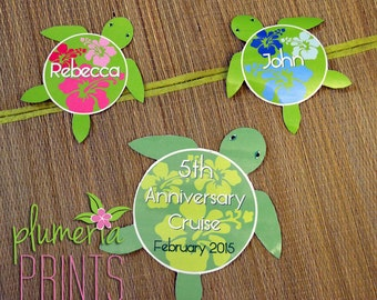 Hawaiian Honu Sea Turtle Anniversary or Wedding Magnet Set for Cruise Cabin Door