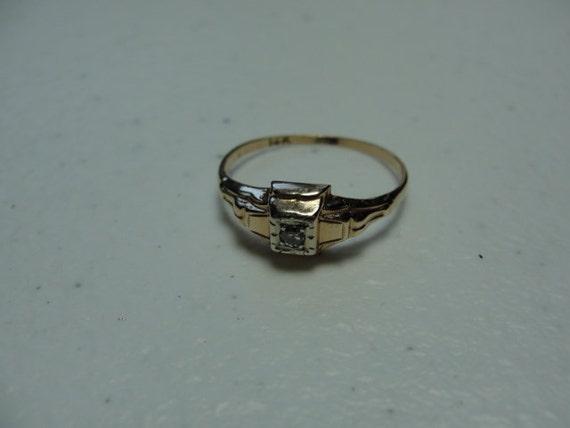 Antique Engagement Ring 14k rose gold 1800s 2mmx2mm diamond
