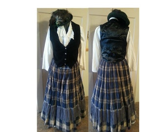 Victorian Prairie skirt blouse full costume black leather vest plaid 3 pc dress OOAK
