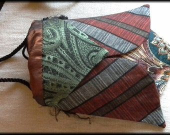 "A Cicada Bag, a small purse made from vintage ties, a cross body style, 7""long and 4""wide, wearable art"