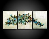 Large Abstract Painting Modern Painting Wall Art Modern Original Contemporary Painting 20 x 48 Blue Cream Burnt Orange White